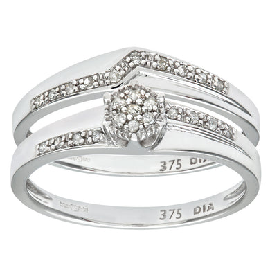 9ct White Gold 0.12ct Diamond Wishbone Bridal Set Crossover Ring