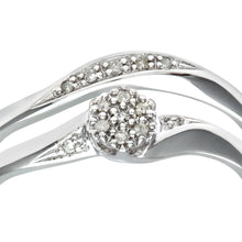 Load image into Gallery viewer, 9ct White Gold 0.07ct Diamond Bridal Set Cluster Ring