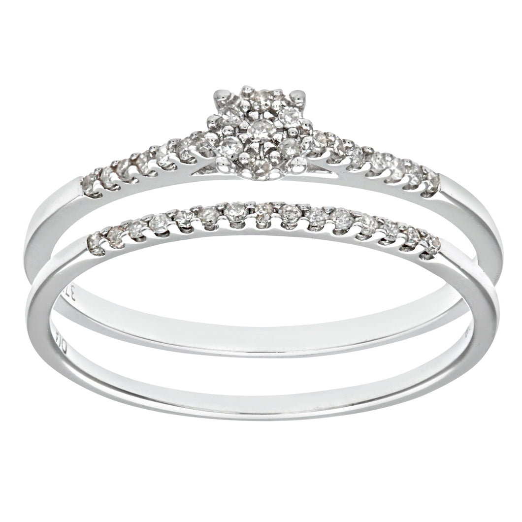 9ct White Gold 0.16ct Diamond Bridal Set Ring