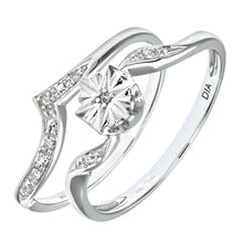 Load image into Gallery viewer, 9ct White Gold 0.03ct Diamond Wishbone Shape Bridal Set Ring