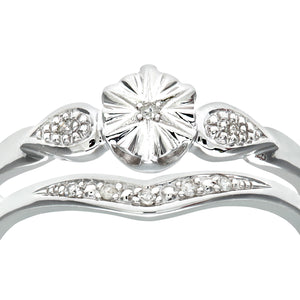 9ct White Gold 0.03ct Diamond Bridal Set Star Ring