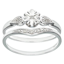 Load image into Gallery viewer, 9ct White Gold 0.03ct Diamond Bridal Set Star Ring