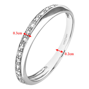 9ct White Gold Diamond Pave Set Crossover Effect Half Eternity Ring
