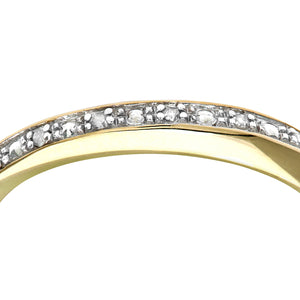 9ct Yellow Gold Diamond Pave Set Crossover Effect Half Eternity Ring