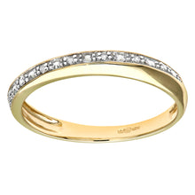 Load image into Gallery viewer, 9ct Yellow Gold Diamond Pave Set Crossover Effect Half Eternity Ring