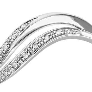 9ct White Gold Diamond Pave Set Double Wave Half Eternity Ring