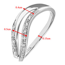 Load image into Gallery viewer, 9ct White Gold Diamond Pave Set Double Wave Half Eternity Ring
