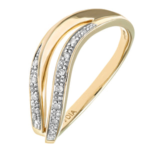 9ct Yellow Gold Diamond Pave Set Double Wave Half Eternity Ring