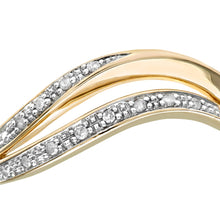 Load image into Gallery viewer, 9ct Yellow Gold Diamond Pave Set Double Wave Half Eternity Ring