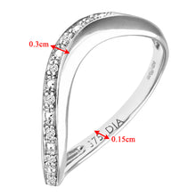 Load image into Gallery viewer, 9ct White Gold Pave Set Diamond Wave Half Eternity Ring