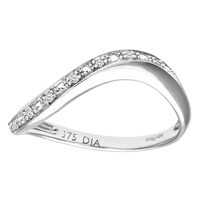 9ct White Gold Pave Set Diamond Wave Half Eternity Ring