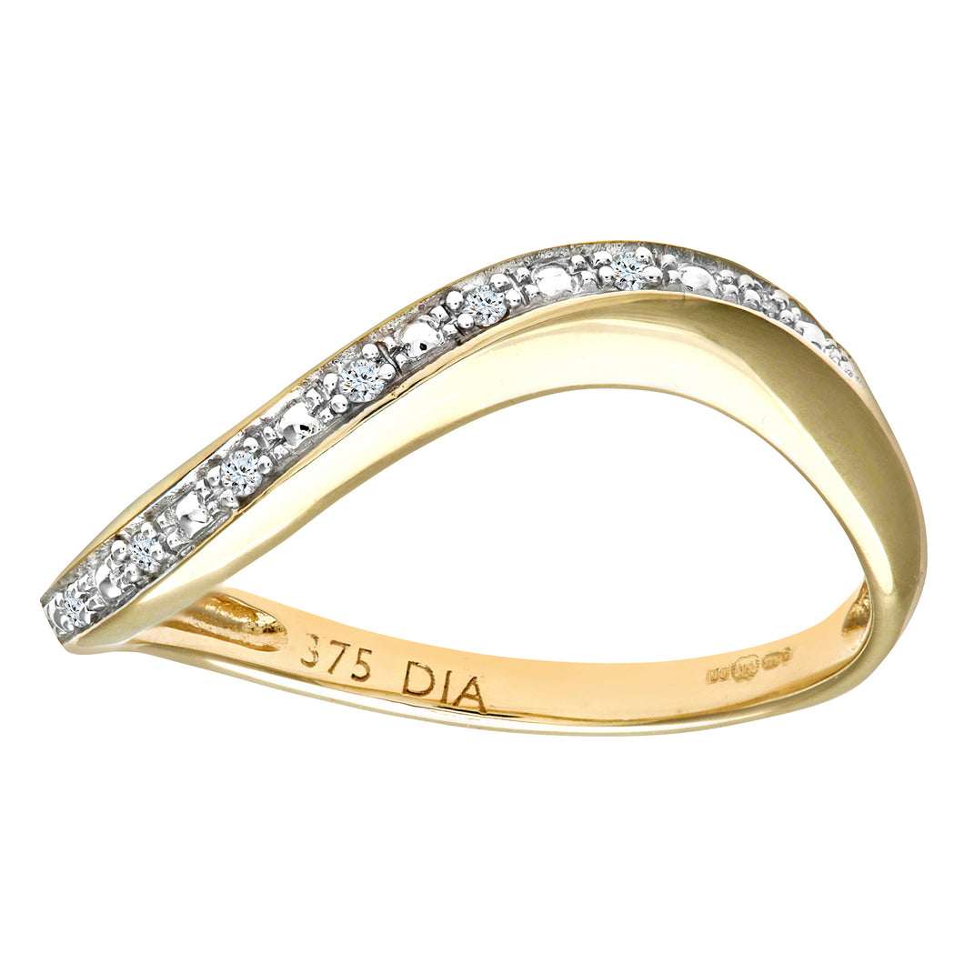 9ct Yellow Gold Pave Set Diamond Wave Half Eternity Ring