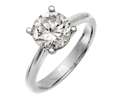 18ct White Gold 2.00ct Certified IJ/I Diamond Solitare Engagement Ring