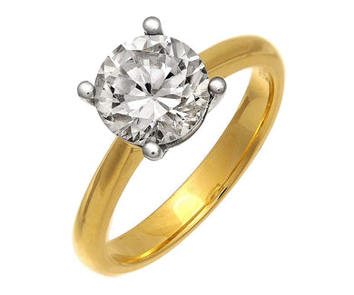 18ct Yellow Gold 2.00ct Certified IJ/I Diamond Solitare Engagement Ring