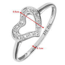 Load image into Gallery viewer, 9ct White Gold 0.05ct Diamond Heart Ring