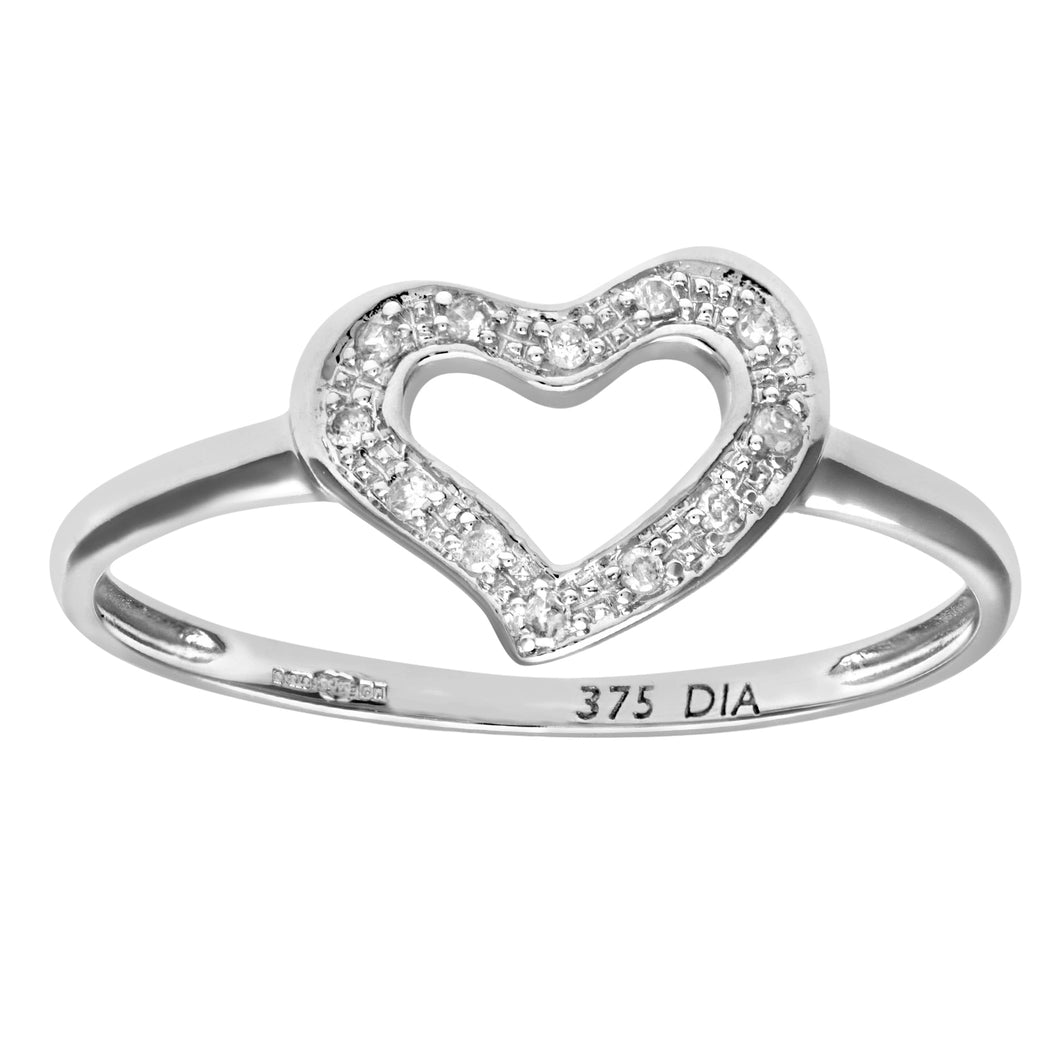 9ct White Gold 0.05ct Diamond Heart Ring