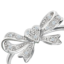 Load image into Gallery viewer, 9ct White Gold Diamond Heart Bow Tie Ring