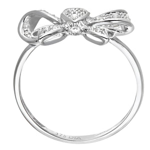 9ct White Gold Diamond Heart Bow Tie Ring