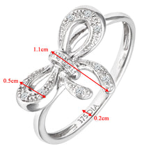Load image into Gallery viewer, 9ct White Gold 0.05ct Diamond Bow Ring