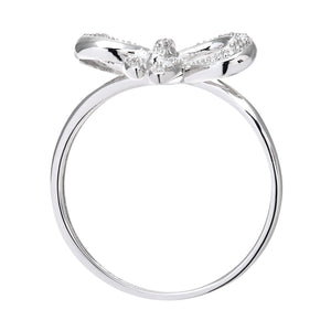 9ct White Gold 0.05ct Diamond Bow Ring