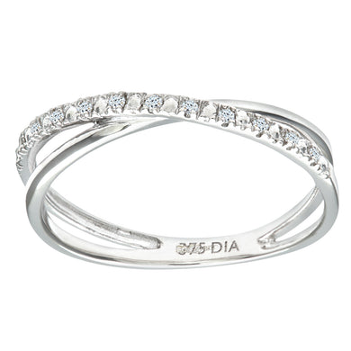 9ct White Gold 0.05ct Diamond Crossover Ring