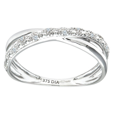 9ct White Gold 0.05ct Diamond Kiss Ring