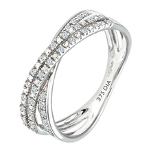 Load image into Gallery viewer, 9ct White Gold 0.15ct 2-Row Diamond Crossover Ring