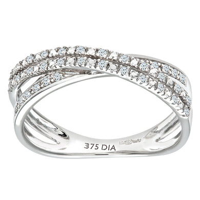 9ct White Gold 0.15ct 2-Row Diamond Crossover Ring