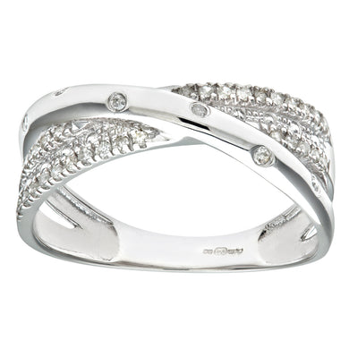 9ct White Gold 0.15ct Triple Row Diamond Crossover Ring