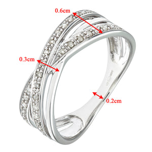 9ct White Gold 0.15ct Diamond Crossover Ring