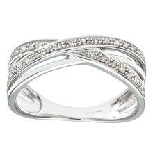Load image into Gallery viewer, 9ct White Gold 0.15ct Diamond Crossover Ring