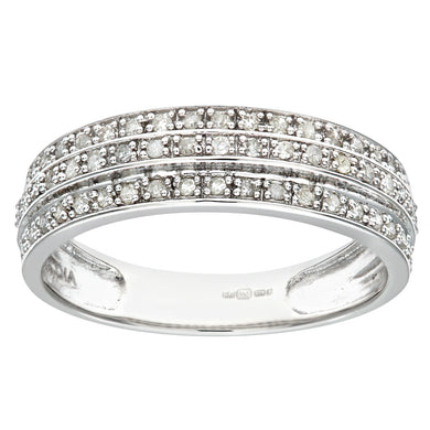 9ct White Gold 0.25ct Triple Row Diamond Half Eternity Ring