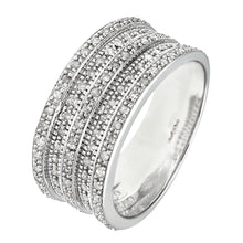 Load image into Gallery viewer, 9ct White Gold 0.50ct Multi Row Diamond Half Eternity Ring