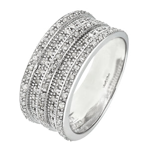 9ct White Gold 0.50ct Multi Row Diamond Half Eternity Ring