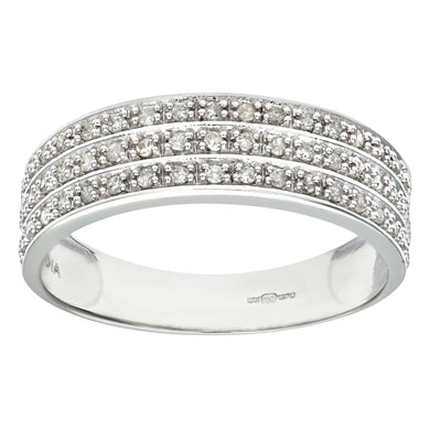 9ct White Gold Quarter Carat Triple Row Diamond Half Eternity Ring