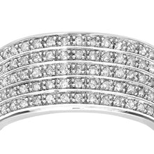 Load image into Gallery viewer, 9ct White Gold Half Carat Multi Row Diamond Half Eternity Ring