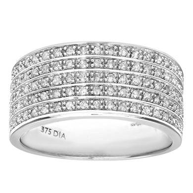 9ct White Gold Half Carat Multi Row Diamond Half Eternity Ring