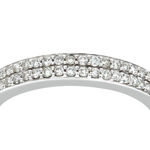 9ct White Gold 0.30ct Diamond Double Row Pave Set Eternity Ring
