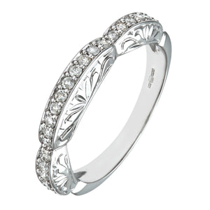 9ct White Gold 0.33ct Diamond Fancy Pave Set Eternity Ring