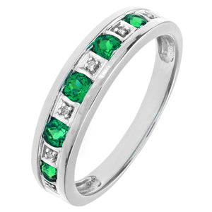 Round Brilliant Emerald and Diamonds 9ct White Gold Eternity Ring