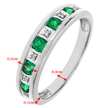 Load image into Gallery viewer, Round Brilliant Emerald and Diamonds 9ct White Gold Eternity Ring