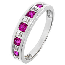 Load image into Gallery viewer, Round Brilliant Ruby and Diamonds 9ct White Gold Eternity Ring