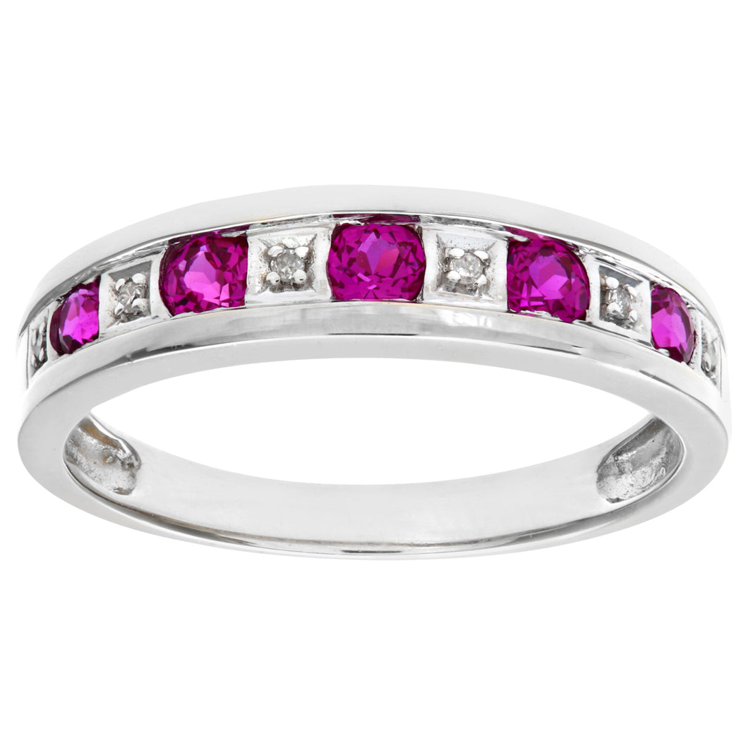 Round Brilliant Ruby and Diamonds 9ct White Gold Eternity Ring