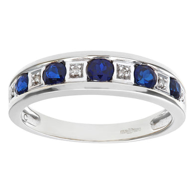 Round Brilliant Sapphire and Diamonds 9ct White Gold Eternity Ring