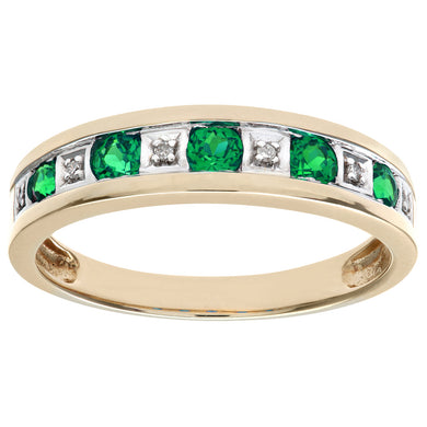 Round Brilliant Emerald and Diamonds 9ct Yellow Gold Eternity Ring