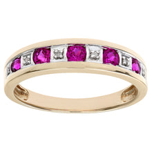 Load image into Gallery viewer, Round Brilliant Ruby and Diamonds 9ct Yellow Gold Eternity Ring