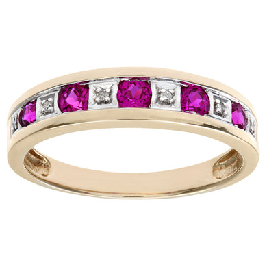 Round Brilliant Ruby and Diamonds 9ct Yellow Gold Eternity Ring