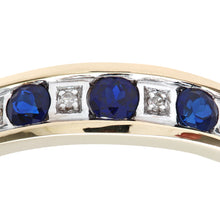 Load image into Gallery viewer, Round Brilliant Sapphire and Diamonds 9ct Yellow Gold Eternity Ring