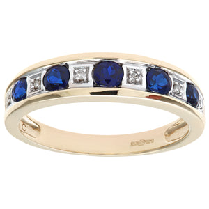 Round Brilliant Sapphire and Diamonds 9ct Yellow Gold Eternity Ring