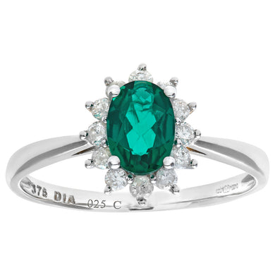 Round Brilliant 0.25ct Emerald and Diamond 9ct White Gold Oval Cluster Ring